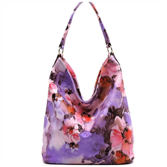 1LEFT Flower Printed Shoulder Bag Hobo Purple b836cccab29a4